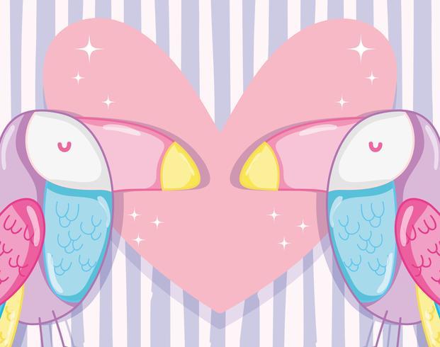 Punchy pastel tucans amoureux vecteur