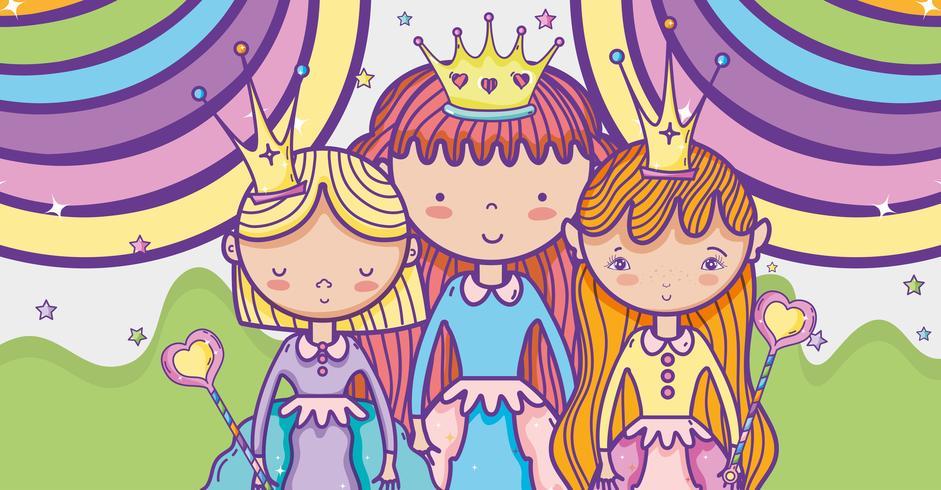 Dessin animé mignon petite princesse vecteur