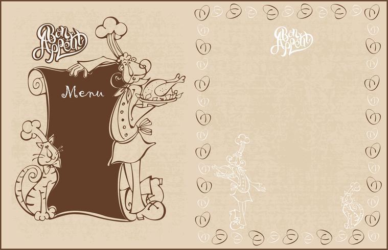 Menu pour le café. Chef et chat cuisinier dans un style bande dessinée. Bon appétit. Caractères. Style vintage. Illustration vectorielle vecteur