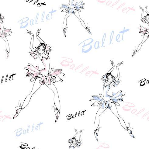 Modèle sans couture. Ballet. Danseurs de ballerines. Une inscription. Illustration vectorielle vecteur