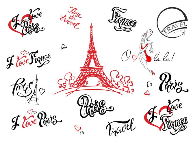 Paris. France. Ensemble d'éléments pour la conception. Croquis de la tour Eiffel. Lettrage inspirant. Modèles d'étiquettes. Modèle de fille. vecteur