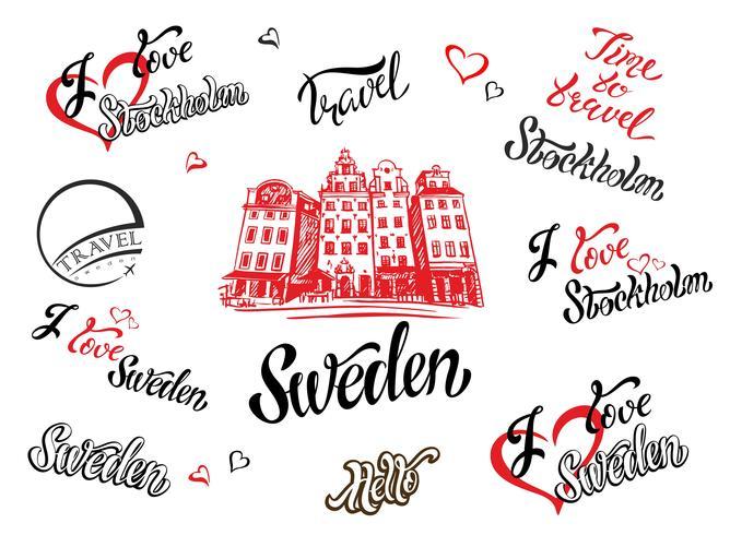 Suède. Ensemble d'éléments pour la conception. Stockholm. Un croquis de l'architecture. Lettrage inspirant. Modèles. Vecteur. vecteur