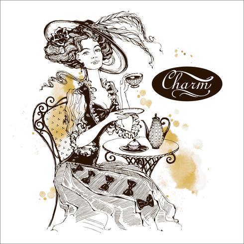 La fille au chapeau et à la robe vintage. Lady boit du thé. Belle femme. Charme. Une inscription. Graphique. Aquarelle. Vecteur