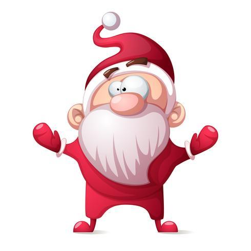 Père Noël, père hiver - dessin animé drôle, illustration mignonne. vecteur