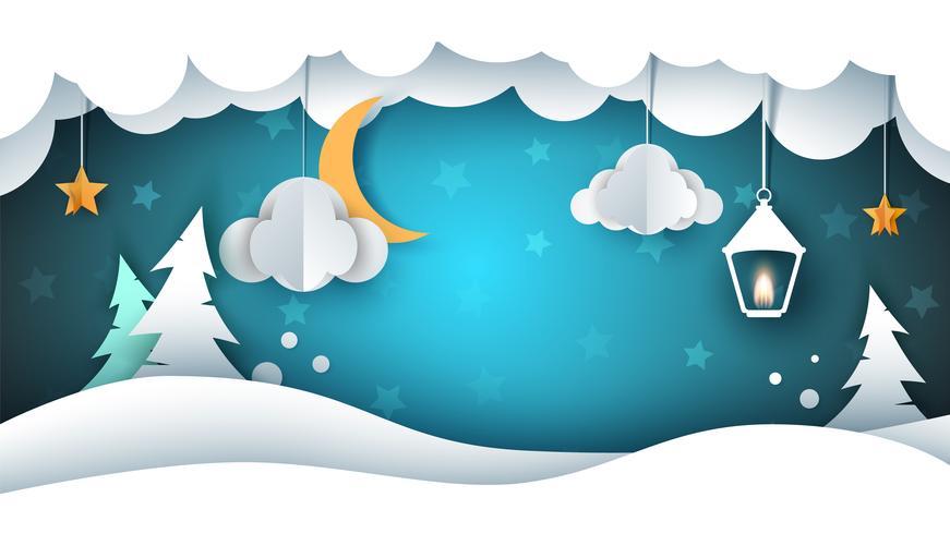 Paysage de neige - illustration de papier. Nuage, sapin, étoile, lune, neige, lampe de poche. vecteur