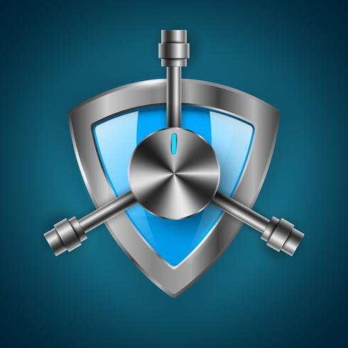 Security, guard, shield - icône réaliste 3d vecteur