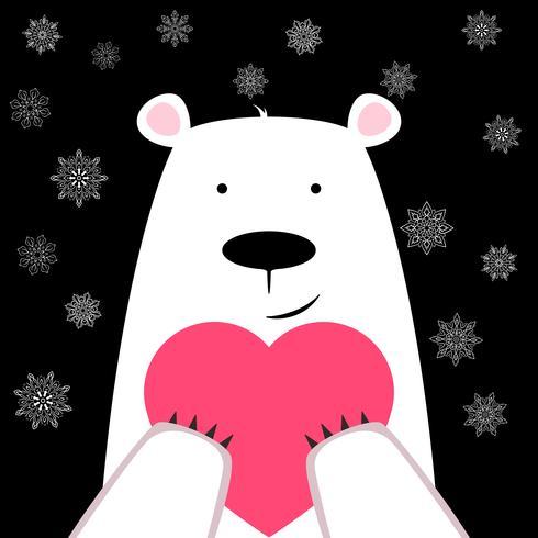 Drôle ours mignon avec coeur. vecteur