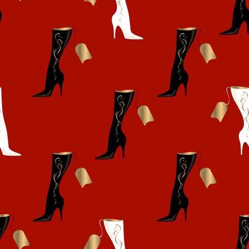 Bottes pour femmes. Modèle sans couture. Fond rouge. Illustration vectorielle. vecteur