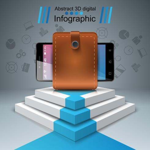 Gadget numérique, smartphone - infographie de l'entreprise. vecteur