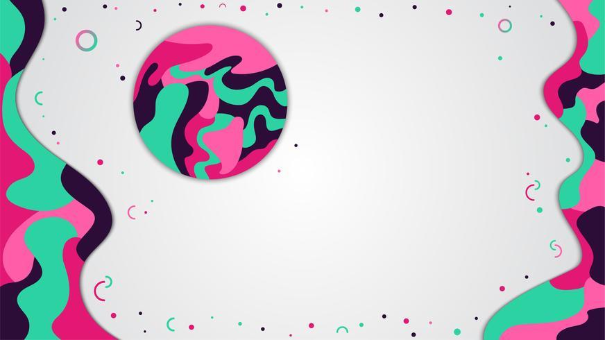 Bannière de style dynamique, design abstrait couleur liquide avec place pour le texte vecteur