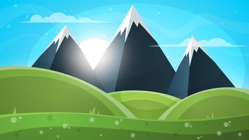 Paysage de montagne. Illustration de papier. vecteur