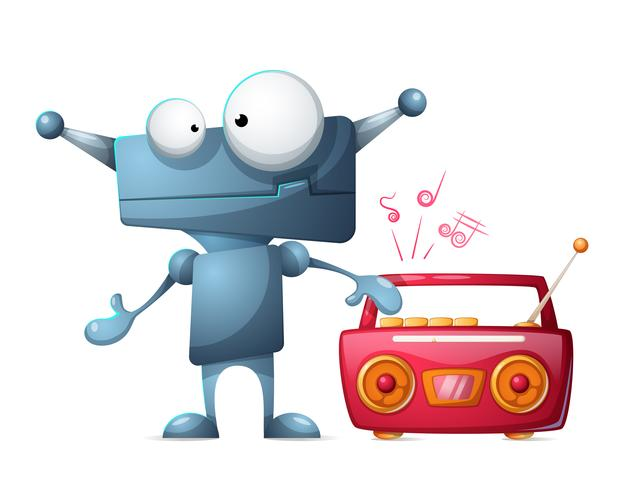 Robot écoute de la musique. vecteur
