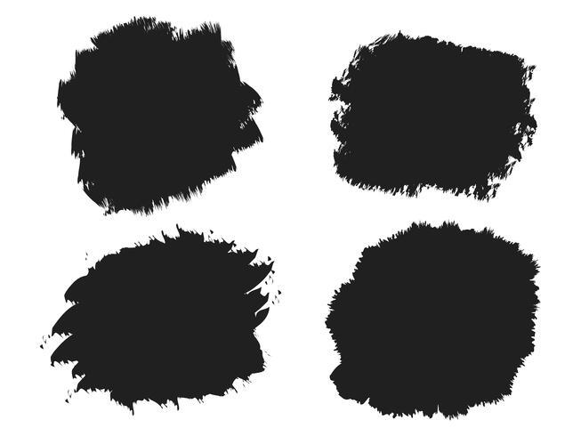 Tache de pinceau d'encre noire, coups de pinceau, bannières, bordures vecteur