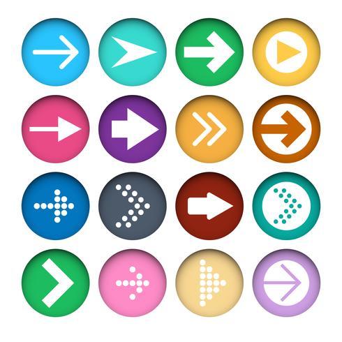 Vecteur série d'icônes de flèches de couleur différente dans les boutons de papier découpé