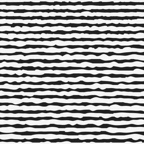 Modèle sans couture noir et blanc avec des lignes dessinées à la main vecteur
