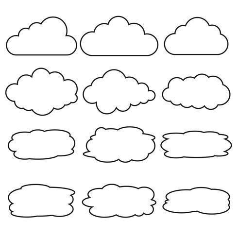 Vecteur série d'icônes de ligne de nuage différent