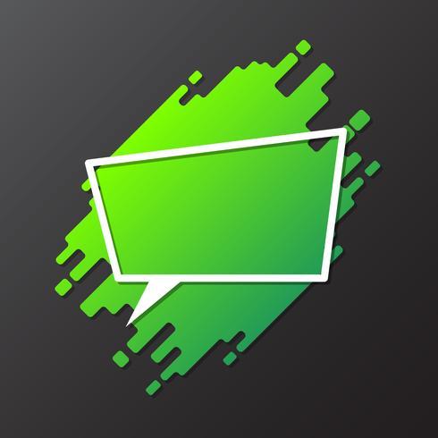 Élément vert pour la conception de forme arrondie dynamique avec bulle de dialogue découpée en papier vecteur