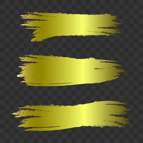 Coups de pinceau texturés d'or, set vector