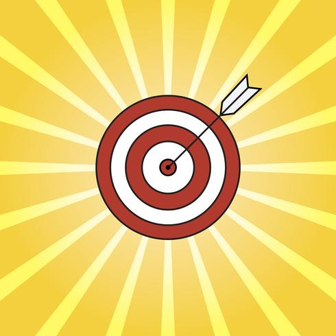 Rayons rétro et cible avec flèche, style pop art de fond vecteur