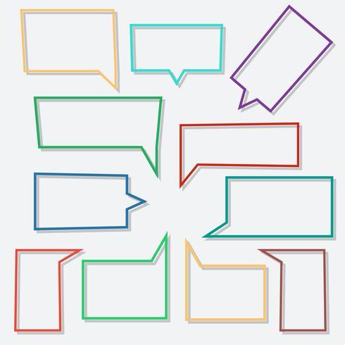 Bulles de dialogue icônes linéaires en forme de rectangle avec des ombres vecteur