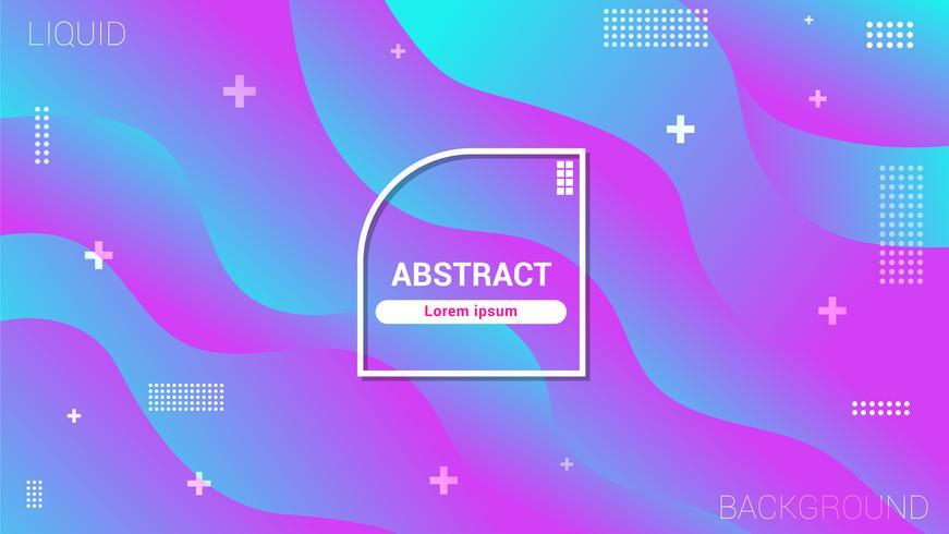 Fond géométrique bleu et rose avec composition de dégradés tendance et formes simples vecteur