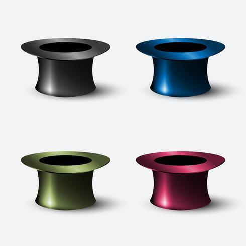 Vecteur série de cylindre de chapeau réaliste d'icônes