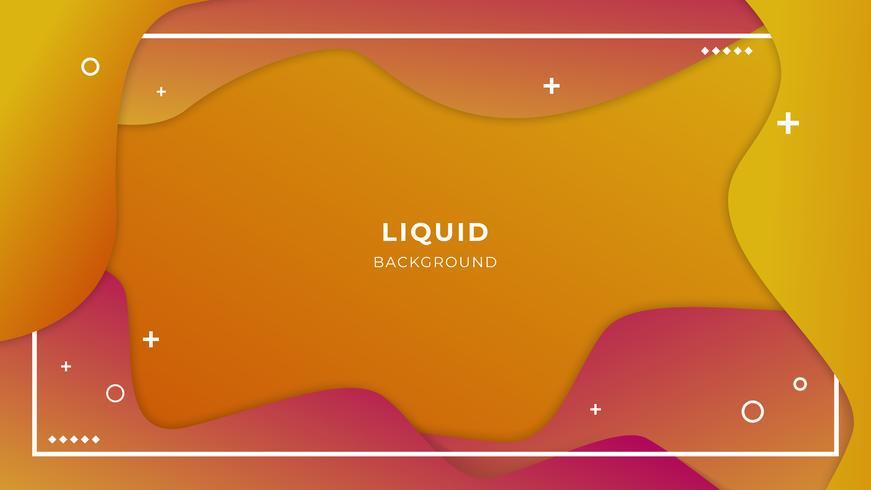 Couleurs chaudes, fond liquide abstrait avec des formes simples avec une composition tendance de dégradés vecteur