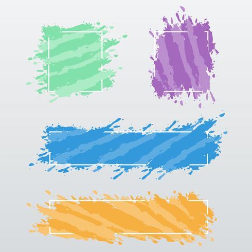 Bannières modernes, des cadres de coups de pinceau de couleur, set vector