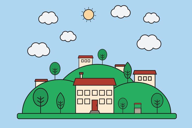 Illustration vectorielle de paysage de village nature plat avec des montagnes. Petit concept de ville vecteur
