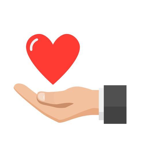 Main donnant coeur, concept de l'amour vecteur