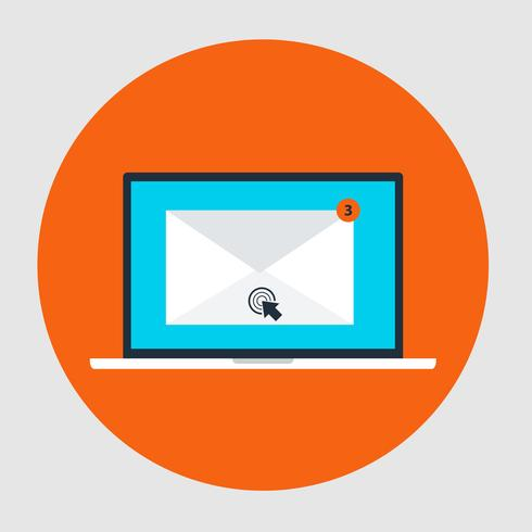 Icône de style plat concept marketing par courriel vecteur