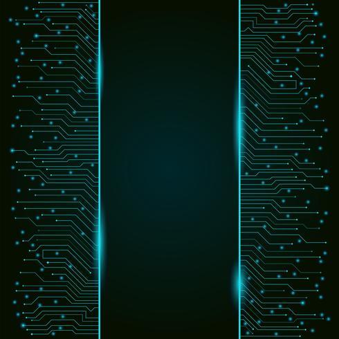 Circuit imprimé, bannière verticale de haute technologie, texture d'arrière-plan vecteur