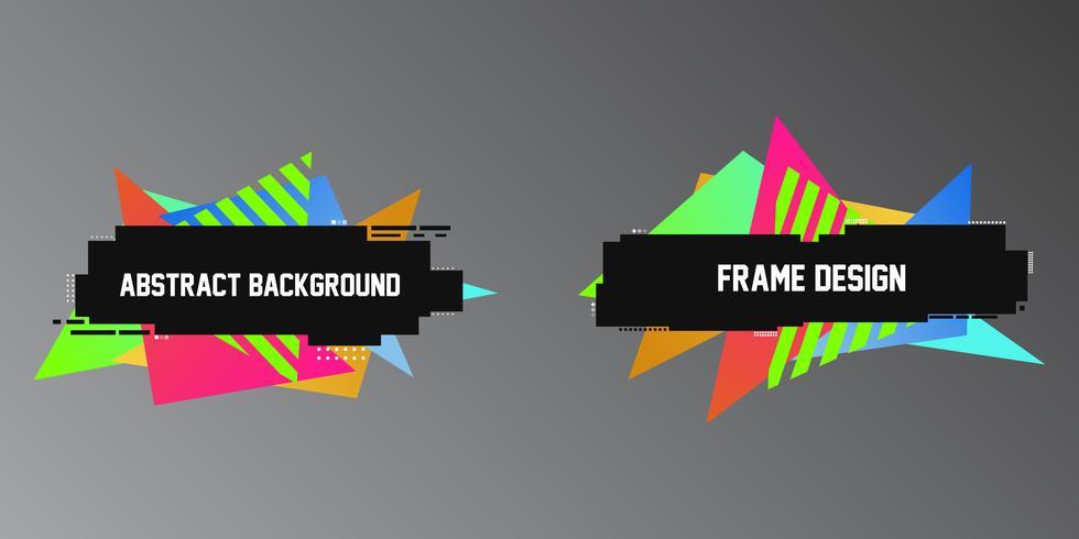 Style d'effet Glitch, deux bannières géométriques, des cadres avec des triangles lumineux vecteur