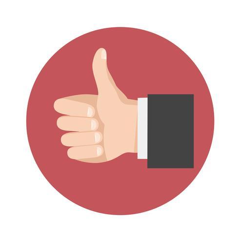 Thumbs Up icon, symbole de vecteur dans le style plat
