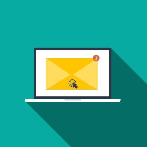 Icône de style plat de concept de marketing par courriel avec ombre portée vecteur