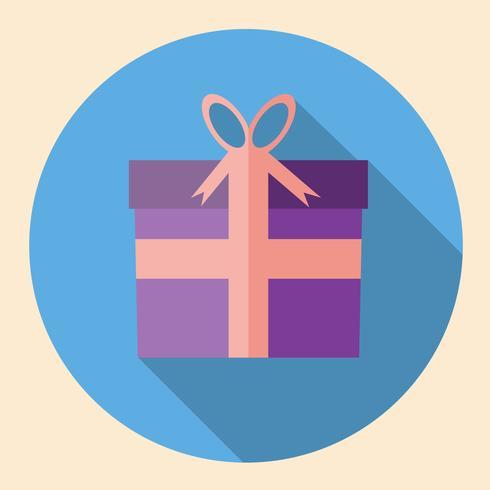 Design plat d'icône boîte cadeau avec ombre portée vecteur