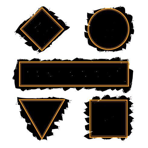 Cadres noirs tendance des coups de pinceau d'encre, set vector