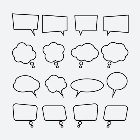 Jeu d'icônes linéaires bulle discours vecteur