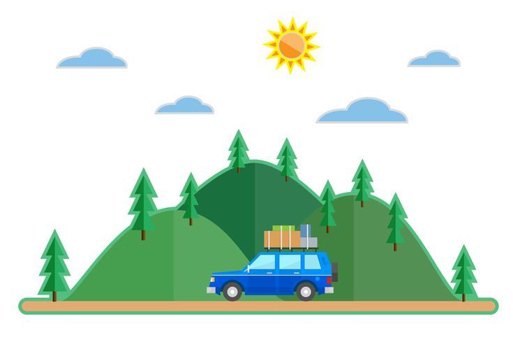 Fond de voyage été voiture style plat vecteur