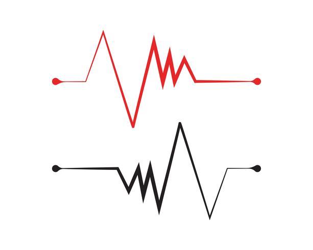 Vecteur de l'hôpital logo ligne rythme cardiaque