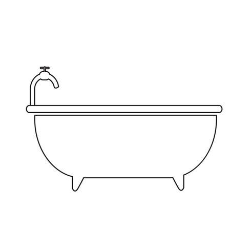 Signe de symbole d'icône de baignoire vecteur