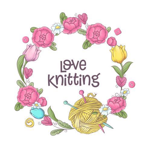Ensemble pour le modèle de logo à la main, des éléments et des accessoires pour le crochet et le tricot. vecteur
