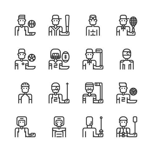 Jeu d'icônes d'avatar de sport. Illustration vectorielle vecteur