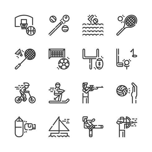 Jeu d'icônes d'activités sportives. Illustration vectorielle vecteur