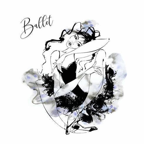Ballerine. Danseuse de cabaret. Moulin Rouge. Dansant. aquarelle. Illustration vectorielle vecteur