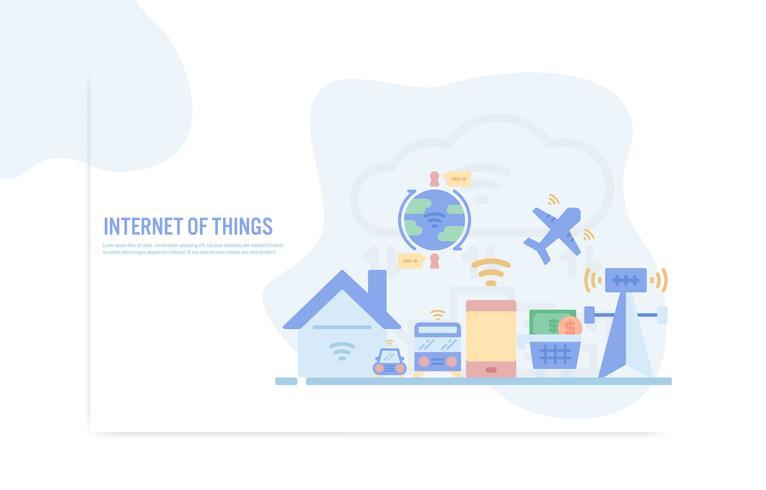 Modèle de conception Web avec des icônes de la ligne plate d'internet du concept de choses - illustration vectorielle vecteur