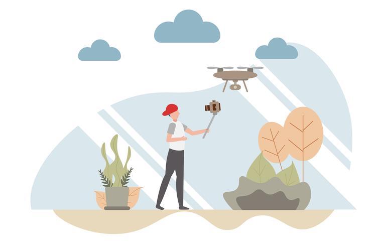 Concept de Vlog avec caractère, un homme tenant un blog vidéo selfie avec un drone copter. Design plat créatif pour la bannière web vecteur