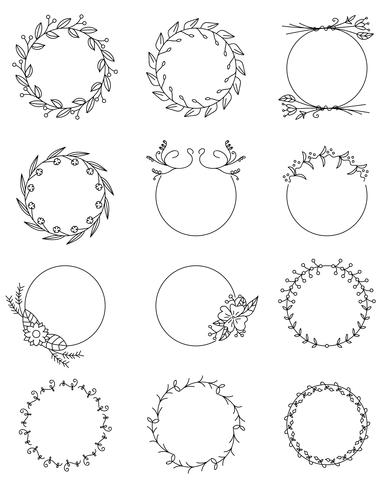 Ensemble de cadres ronds floraux dessinés à la main vecteur
