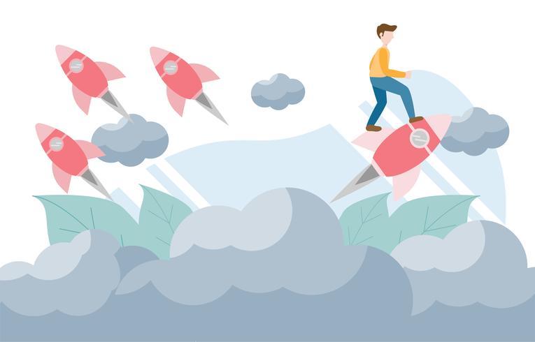 Pensez concept différent avec du caractère. Design plat créatif pour la bannière web vecteur