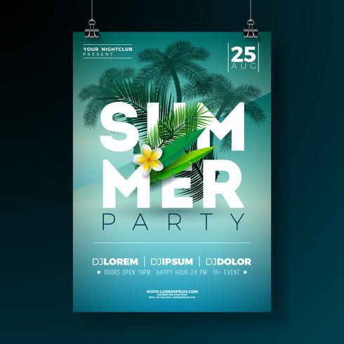 Vector Summer Party Flyer Design avec des palmiers de fleurs et de palmiers tropicaux sur fond bleu. Illustration de vacances d'été avec des plantes exotiques